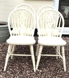 Dining chairs kitchen chairs x 4 Shabby Chic very heavy solid very heavy