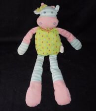 "13"" ORGANIC FARM BUDDIES BABY COW PINK BLUE RATTLE STUFFED ANIMAL PLUSH TOY SOFT"