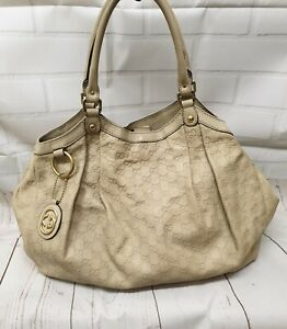 Authentic Gucci Sukey Guccissima Tote Leather Ivory Vintage Bag Shoulde Handbag