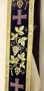 """Purple orar orarion stole Grapevine embroidery 110"""" long 4 1/2"""" w READY TO SHIP"""