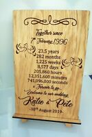Personalised Engraved Anniversary Wedding Gift Plaque & Stand Oak Countdown Gift