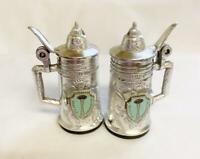 2 Vintage Salt & Pepper Shakers Souvenir Seattle Wa Space Needle Metal Steins