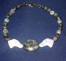 Designer Beaded Bracelet wCzech Glass Greyhound Beads, Black, Swarovski
