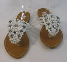 Summer White Stones Womens Shoes Roman Gladiator Sandals Size 6