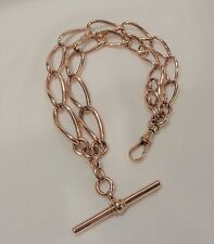 Vintage 9ct Rose Gold 'Double Row' Curb Bracelet with T-Bar - 34.2grms