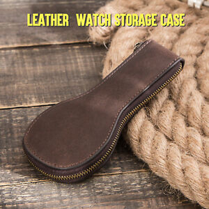 Vintage Leather Travel Storage Case Smooth Zipper Watch Protective Carrying Case