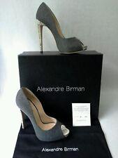 Alexandre Birman Hilary Stiletto Pumps Wool Python Snakeskin Sz 7/38 Italy $815
