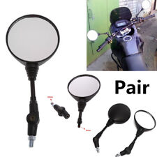 Pair Round Motorcycle Handle Bar Mount Mirrors Folding Rear View Universal Black