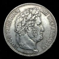 FRANCE, Louis-Philippe , 5 Francs,1834-W, Lille, Silver Coin. KM #749.13 Rare.