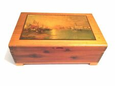 "Vintage Wood Cedar Box Dovetail with European Scene - 10"" x 6.5"" x 3.25"""