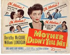 DOROTHY MCGUIRE WILLIAM LUNDIGAN MOTHER DIDN'T TELL ME 11x14 Lobby Card LC674