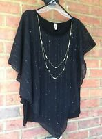 Womens Layered Asym Top with Necklace BLACK Yummy Plus Size 4X