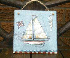 Shabby chic picture plaque, nautical, handmade, wall decor, wooden, boat sailing