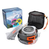 9 Pcs Camping Cookware Set Titanium Cooking Picnic Bowl Pot Frying Pan Portable