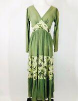Vintage Santa Cruz Imports 100% Cotton Gauzy Green Goddess Maxi Boho Gown SMALL