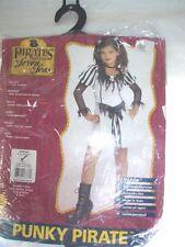 New Girls Punky Pirate Halloween Costume Size Medium 8 - 10 For 5 - 7 Years