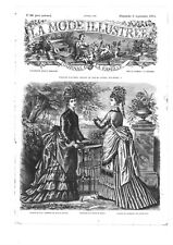 MODE ILLUSTREE SEWING PATTERN  Sept 6,1874 - Dresses for ladies and child