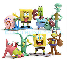 8 Pcs Set SpongeBob Squarepants Patrick Star Squidward Tentacles PVC Figure Toy
