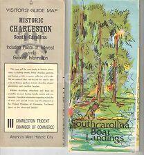 Historic Charleston South Carolina & South Carolina Boat Landing Vintage Maps