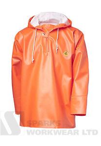 Viking Rubber Rain Smock Primeur Hooded Fishing Fully Waterproof Hi Vis Orange