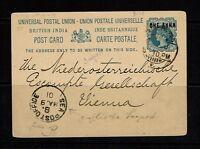India 1901 Seapost UPU Card to Switzerland, Light Corner Creases - Lot 092017