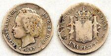 España-Alfonso XIII. 1 Peseta 1893**. Madrid. BC+/F+ Plata 4,7 g. Escasa