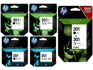 HP 301 Pack / 301XL Noir & Tricouleur Cartouche d'encre Originales Garantie 2ans