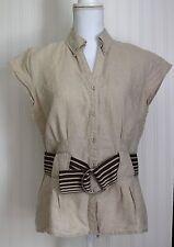 SAINT TROPEZ WEST Linen Tan Button down Short sleeve Belted top Women's Medium