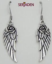1 Pair Angel Wing with Rose Earrings 10 * 46 mm  Nickle Lead Cadmium Free ER002