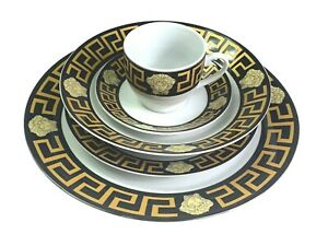 DINNER SET OF 20 PIECES GOLD & BLACK STYLISH MASSIVE CLEARANCE