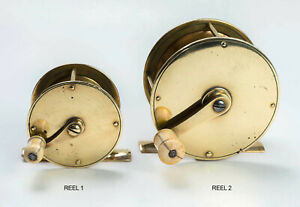 2 Antique brass fishing reels from England, circa late 1800s