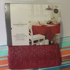 THRESHOLD OBLONG TABLECLOTH RED SILVER SPARKLE OBLONG 60 x  104 HOLIDAY PARTY