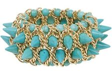 NEW Turquoise Blue Dyed Howlite Spike Stretch Bracelet Goldtone Chain Accents