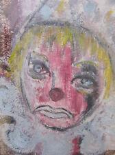 VTG Original Sad Clown Portrait Oil Pastel Painting VTG Amateur Art MCM Framed