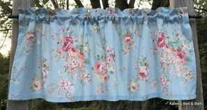 Pink English Rose Cottage Baby Powder Blue Floral Farmhouse Kitchen Bath Valance
