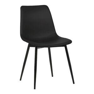 Armen Living Monte Dining Chair, Black/Black PC Metal Legs - LCMOCHBLACK