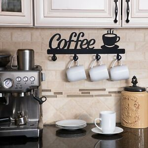 Coffee Bar Decor Sign Shelf Coffee Themed Kitchen Metal Rack Mug Holder Cups