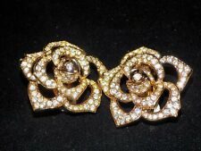 Vintage Avon The Elizabeth Taylor Fashion Collection Pave' Crystal Rose Earrings