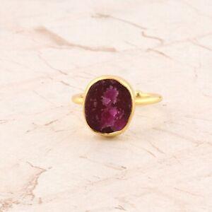 Ruby Color Genuine Jade Quartz 24k Gold Plated Gemstone Adjustable Ring Jewelry