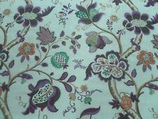 Sanderson Curtain Fabric ROSLYN 1.8m Emerald/Damson Floral Linen Design 180cm