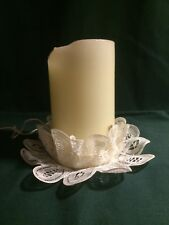 Vintage Stacked Doily Candle Holder One Piece Lace Gorgeous