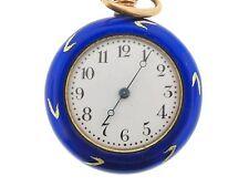 Garour pocket watch, blue hand made enamel, vintage sterling silver
