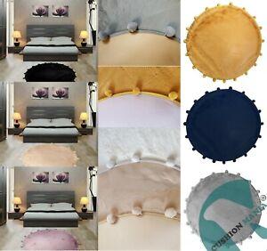 Circle Round Faux Fur Rug Carpet Pom Pom Floor Soft Fur Mat Anti-Skid UK SELLER