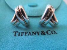 Vintage Tiffany & Co. Sterling Silver & 14K Rope Earrings