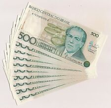 Ten Banco Central Do Brazil Quinhentos Cruzados Banknotes--Pristine Condition !