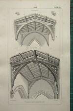 1850 ANTIQUE GOTHIC ARCHITECTURE PRINT ~ ROOF DECORATED SPARSHOLT WYMINGTON