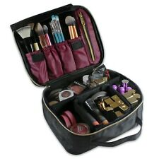 Portable Travel Makeup Train Case Makeup Bag Cosmetic Case Adjustable Dividers