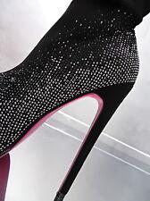 Unique Kristall Schwarz Overknee Plateau Damen High Heels Boots J92 Stiefel 40