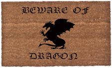 """18"""" x 30"""" - Vinyl Back - Coco Coir Doormat - Beware of Dragon"""