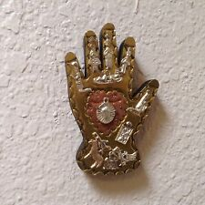 """Hand Tooled Brass And Copper On A 5"""" x  3"""" Wooden Hand, Silver Color Milagros"""